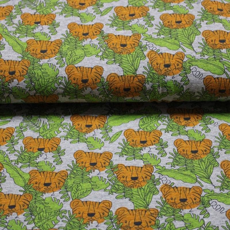 Baumwolljersey - Jersey Stoff - Tiger Melange - Tigerkopf und Blätter auf Grau Melange