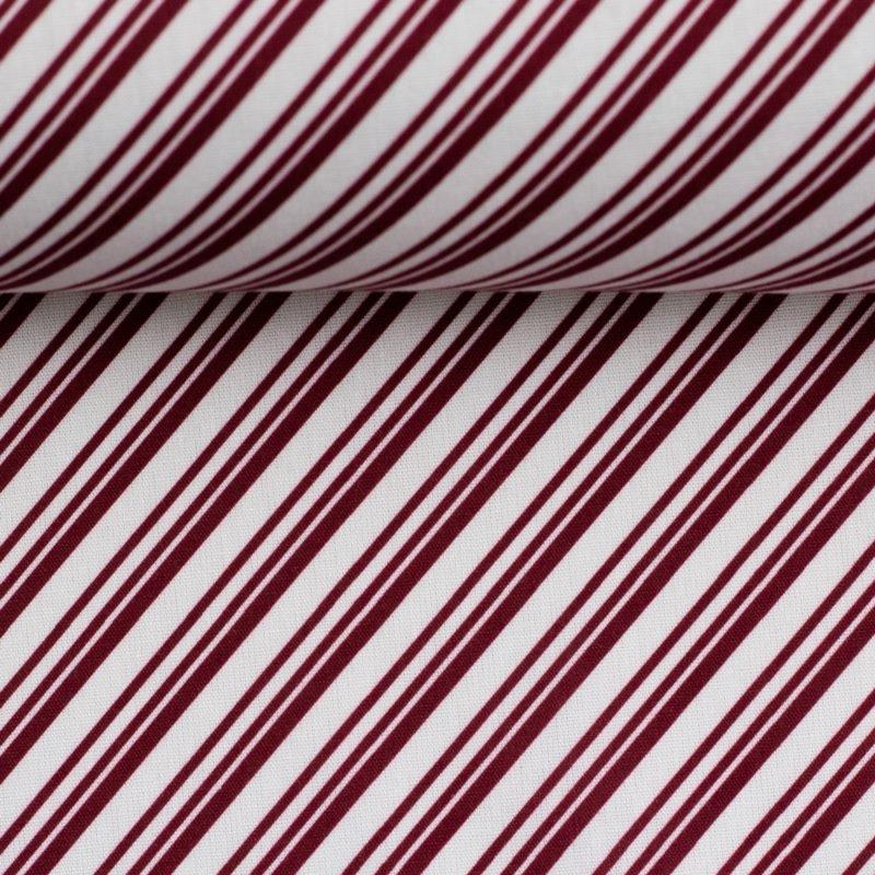 Baumwolle - Baumwoll Stoff - Swafing - Weihnachten - Nordpol - Streifen in Bordeaux und Weiß