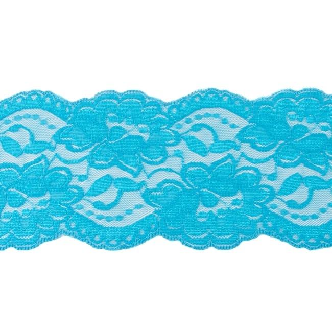 Elastische Spitze - 9,5 cm - Aqua