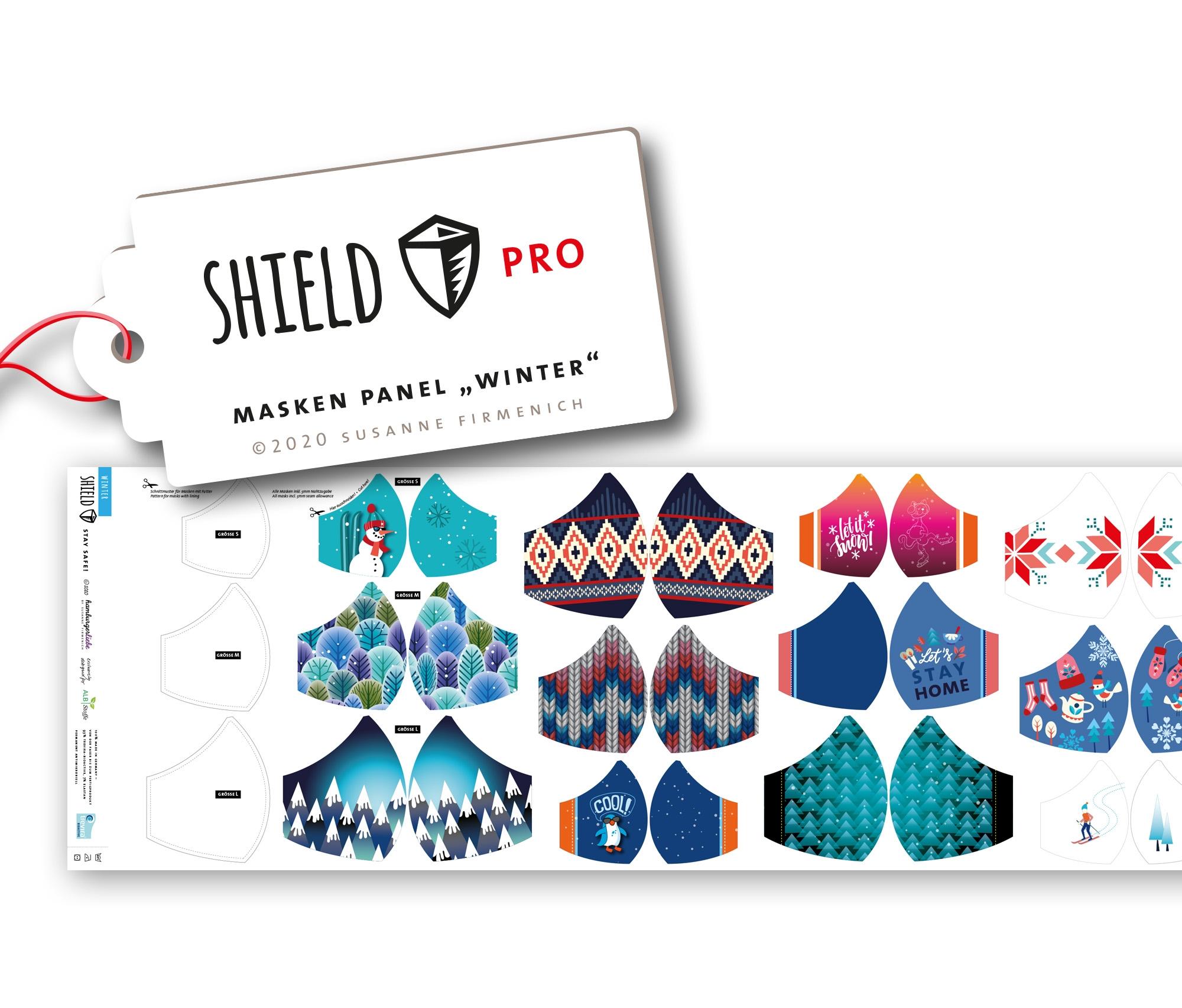Albstoffe - Hamburger Liebe Masken Panel - Shield Panel Winter (rund) - Antimikrobieller Jersey - 50cm x 150cm