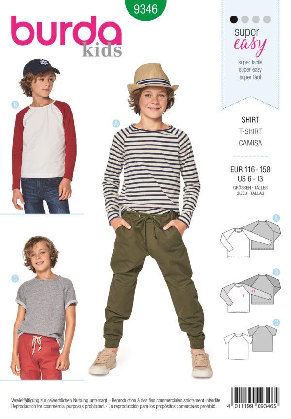Burda 9346 Schnittmuster Shirt (Kinder, 116 - 158) Level 1 super easy