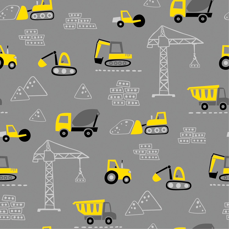 Baumwolljersey - Jersey Stoff - Baustellenfahrzeuge in Gelb auf Mittelgrau