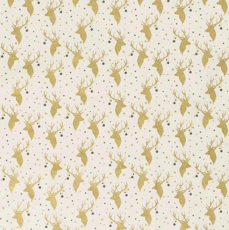 Baumwolle - Baumwoll Stoff - Goldener Hirschkopf auf Ecru