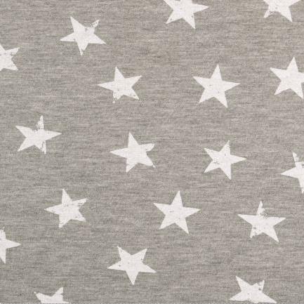 Sweat - Motivsweat - Sterne in Weiß auf Grau Melange