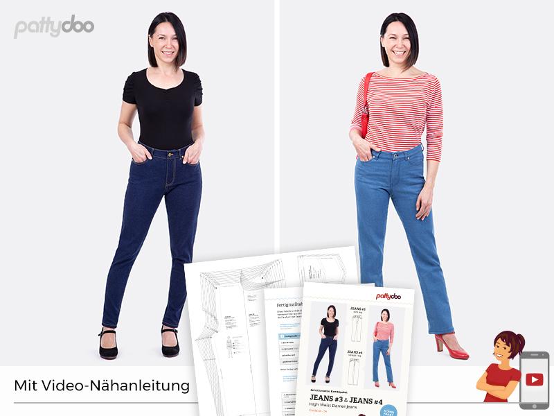 Pattydoo - Schnittmuster Keans #3 & #4 - Kombi-Paket - high waist, slim/straight legs