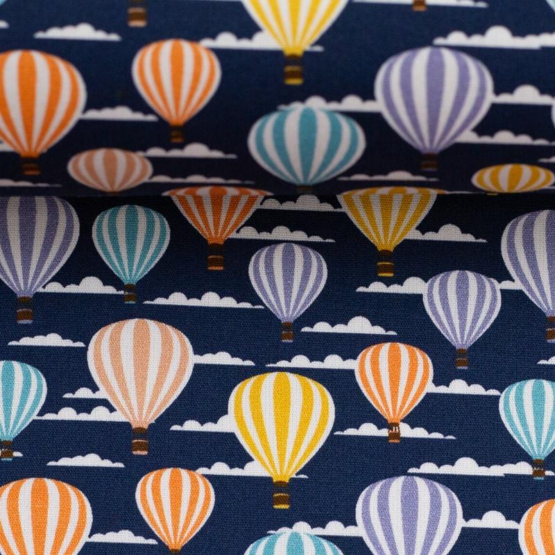Webware - Baumwoll Stoff - Swafing - Kim - Heißluftballons auf Dunkelblau