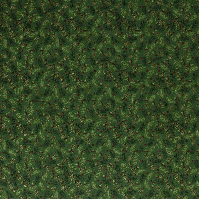 Baumwolle - Baumwoll Stoff - Tannenzweige auf Waldgrün