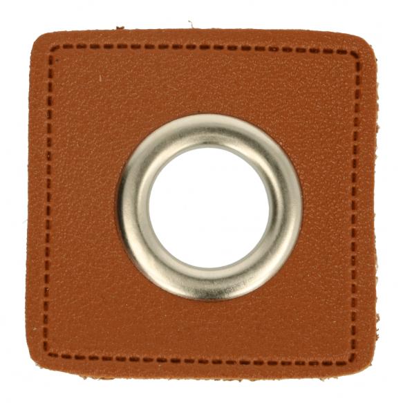 Kunstleder Ösen - Ösen Patches - Braun Viereck - 11mm - Silber - 1 Stück