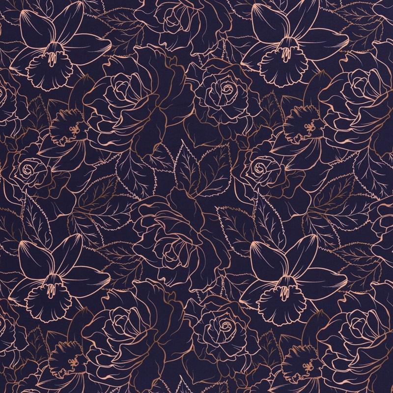 Softshell - Motiv Softshell - Swafing - Fiete - Zartes Blumenmuster auf Navy