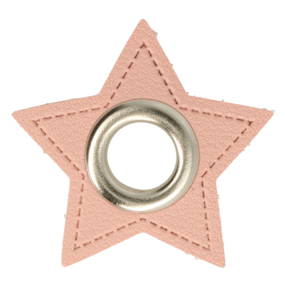 Kunstleder Ösen - Ösen Patches - Rosa Stern - 8mm - Silber - 1 Stück