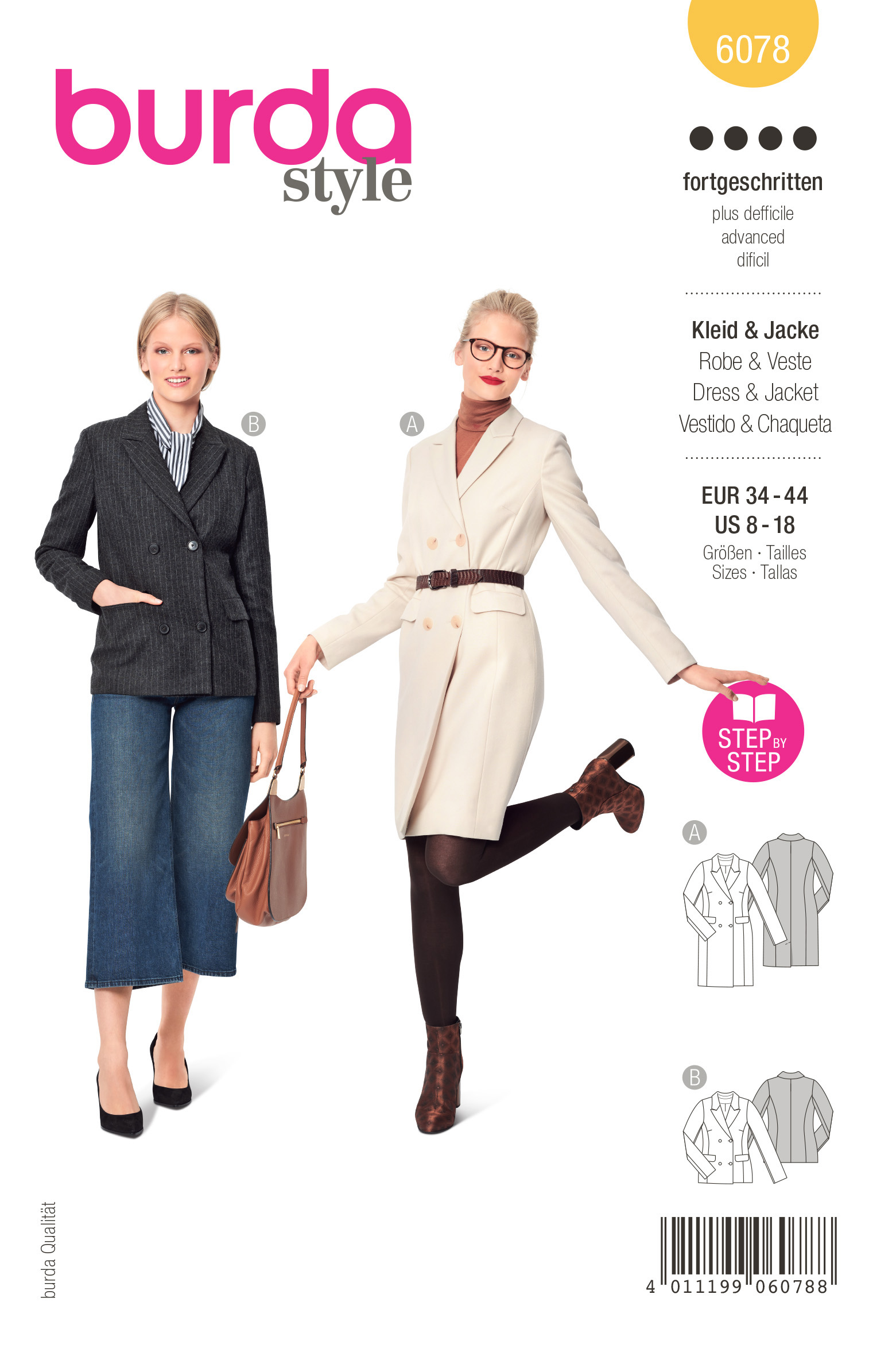 Burda 6078 - Damen - Blazerkleid und Jacke – doppelreihig mit Revers 34-44