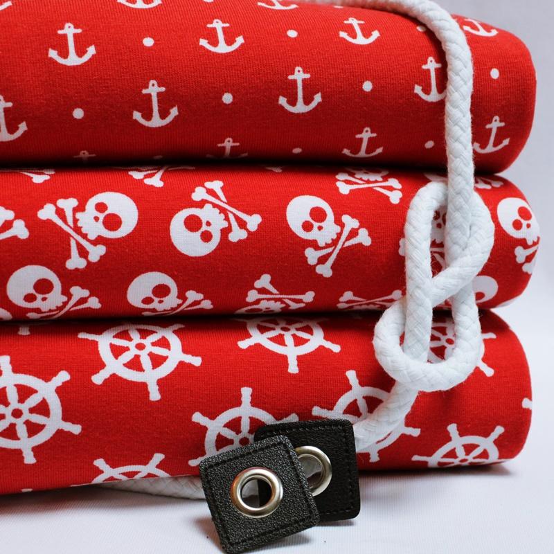 Jersey Stoffpaket - 3 Meter Motiv Jersey & 1,5 Meter Tüddel - Maritim - Rot
