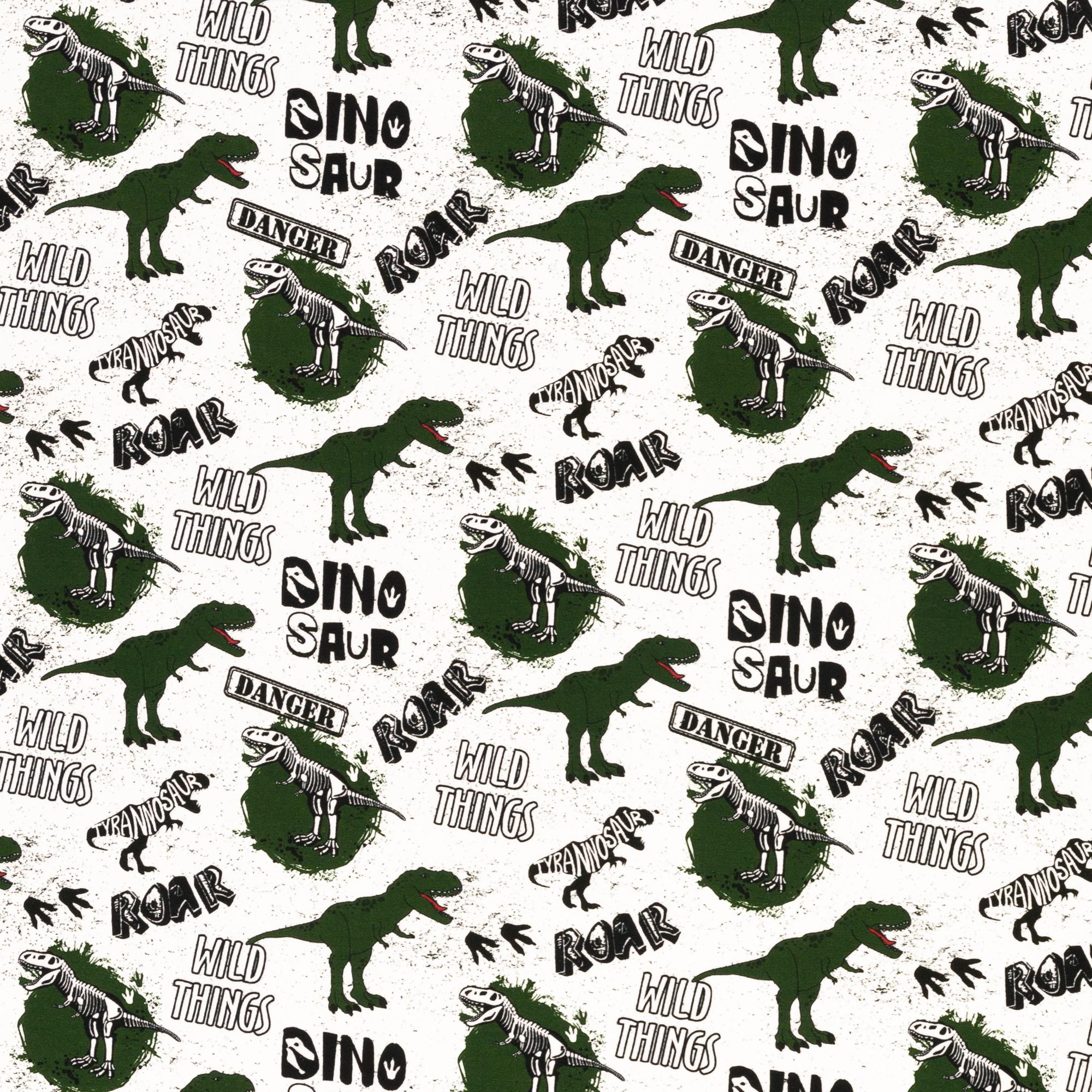 Baumwolljersey - Jersey Stoff - Swafing - Klaas - Dinosaurier auf Weiß Reststück 75cm