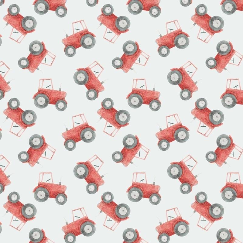 Baumwolljersey - Jersey Stoff - Motivjersey - Digitaldruck - Traktoren in Rot