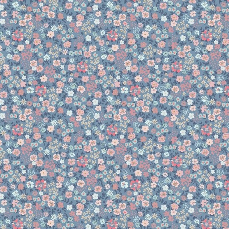 Baumwolljersey - Jersey Stoff - Motivjersey - Kleine bunte Blumen auf Helles Jeans Reststück 150cm