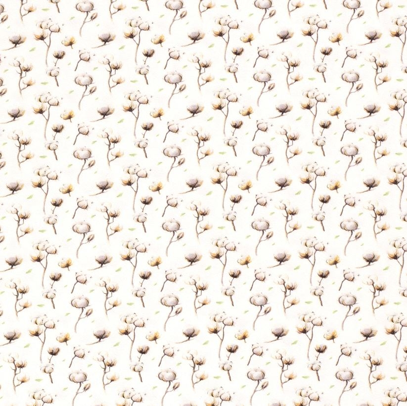 Baumwolljersey - Jersey Stoff - Motivjersey -  Baumwollknospen auf Offwhite