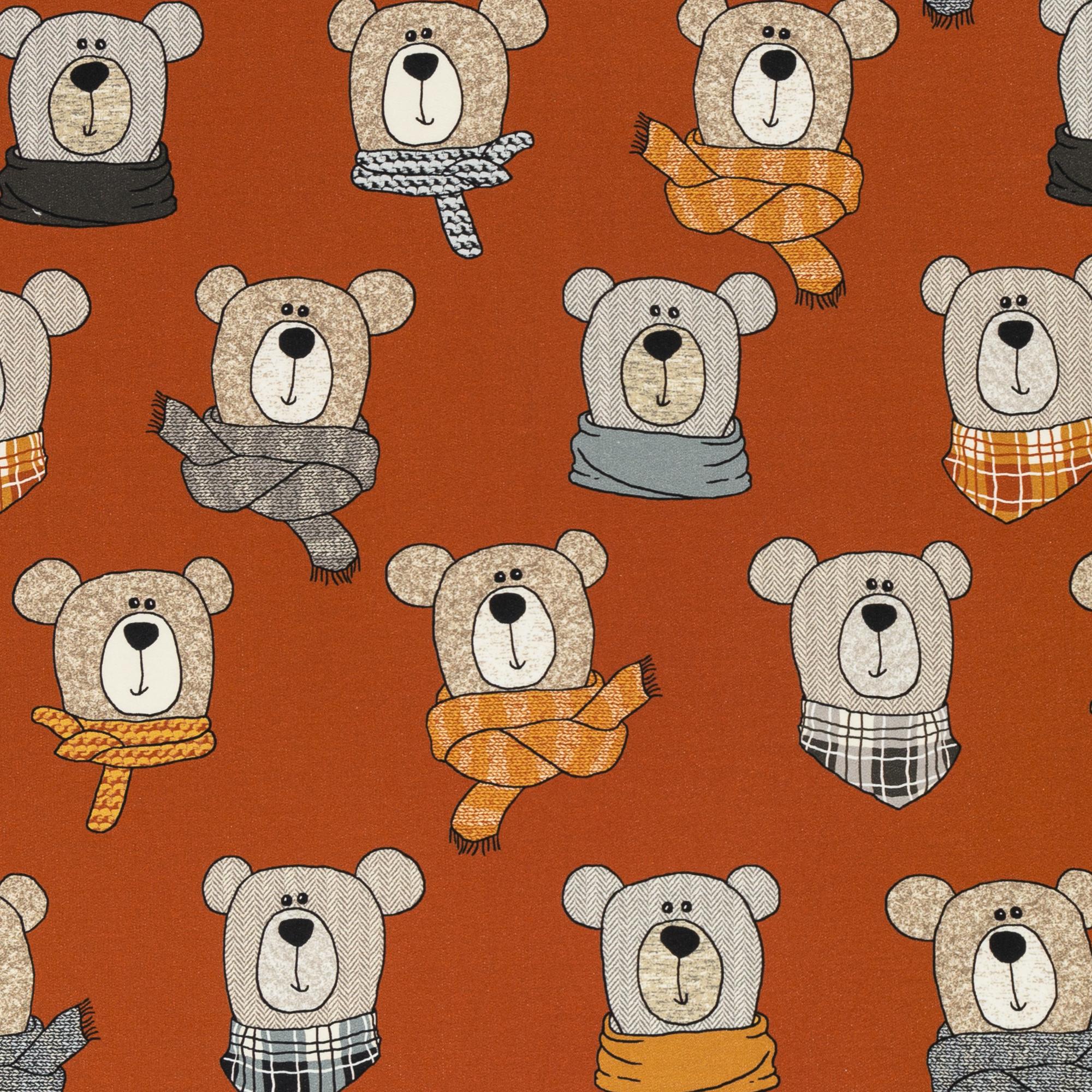 French Terry - Sommersweat - Swafing - Sweet Bears - Bärchen mit Schal auf Rost