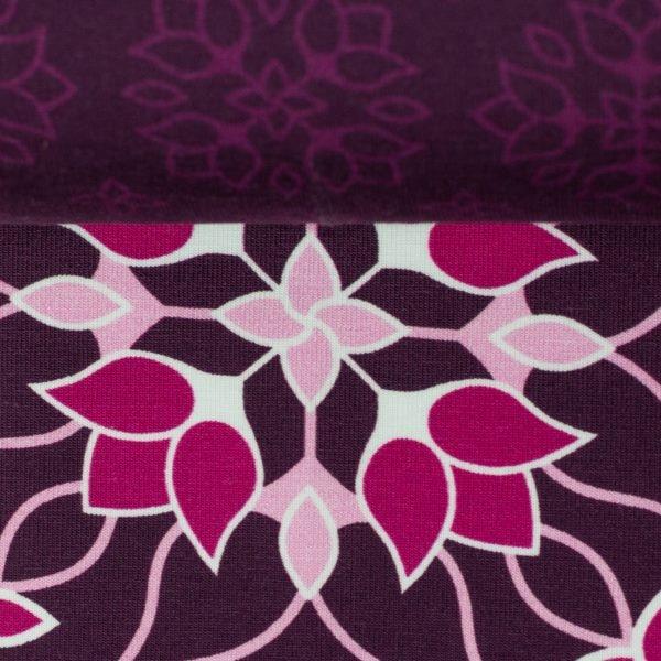 Jersey - Baumwoll Jersey - Motiv - Swafing - Big Floral Ornaments by Lycklig Design - Aubergine Reststück 150cm