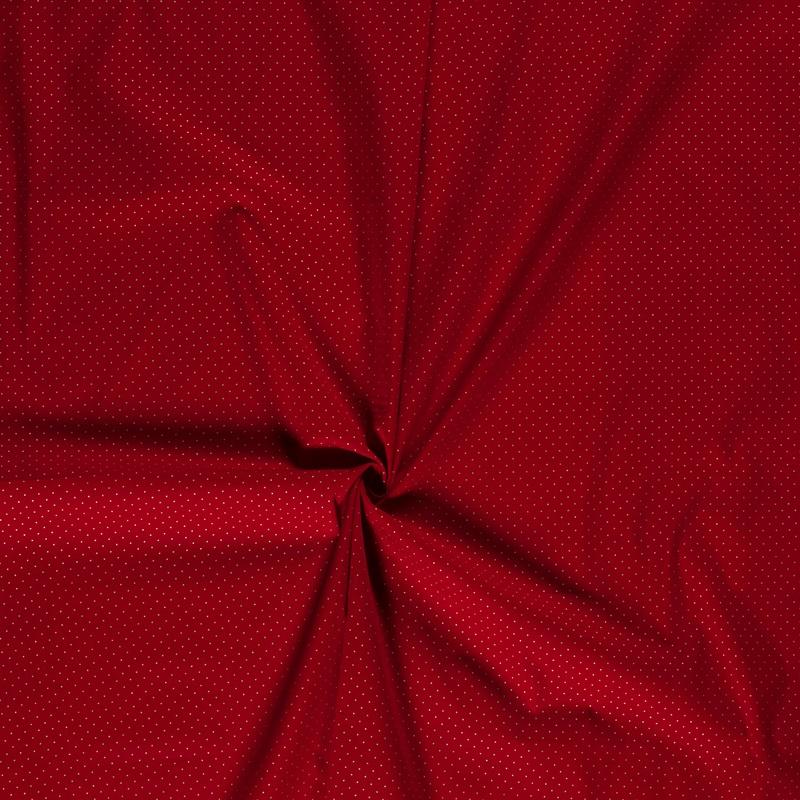 Baumwolle - Baumwoll Stoff - Goldene Punkte 1mm auf Rot
