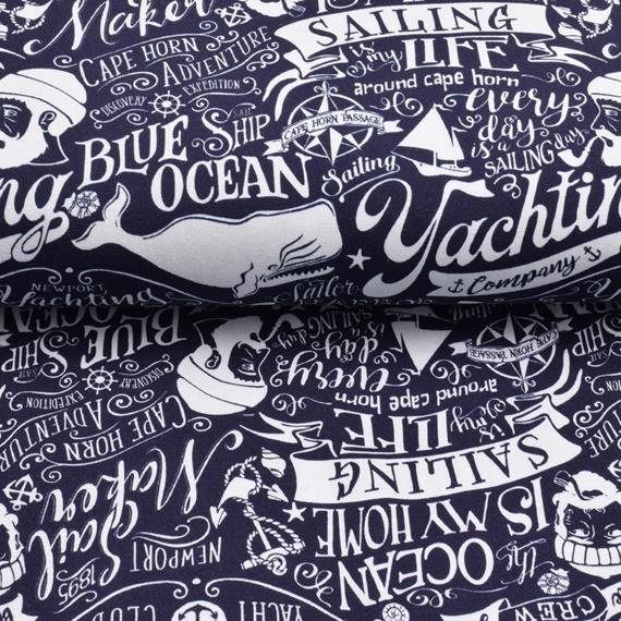 Baumwolljersey - Jersey Stoff - Motivjersey - Premium Collection  - Maritim - Schrift in Weiß auf Navy