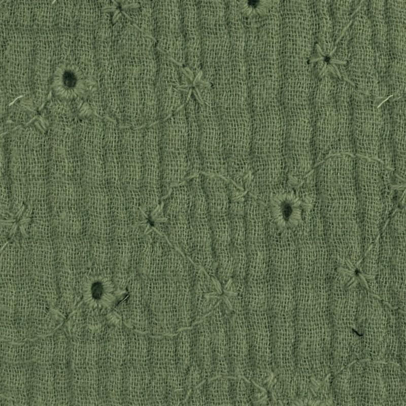 Musselin - Double Gauze - Mullstoff - Bestickt - Uni - Armeegrün