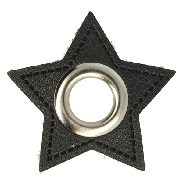 Kunstleder Ösen - Ösen Patches - Schwarz - Stern - 11mm - Silber