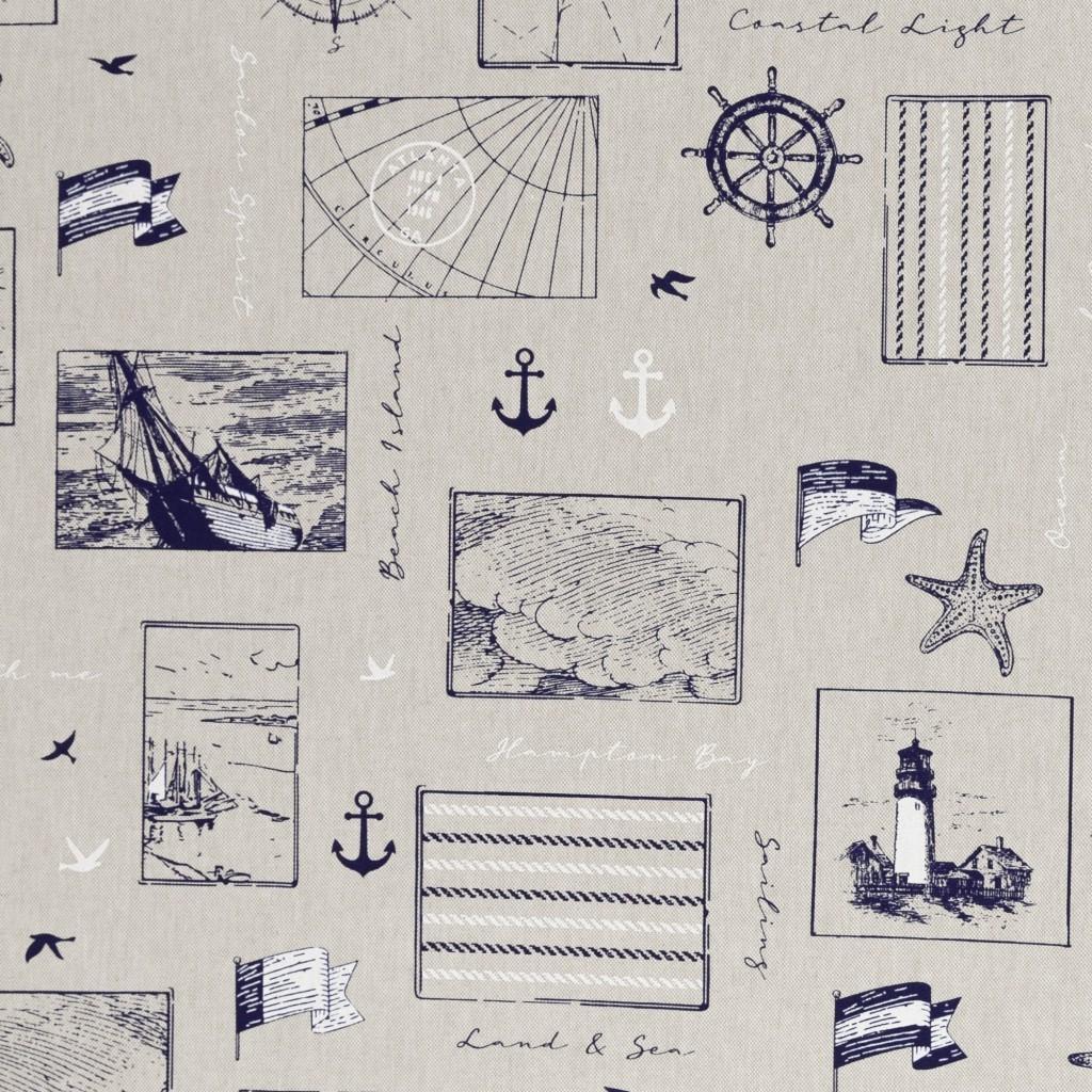 Canvas - Dekostoff - Leinenoptik - Emma - Maritime Motive auf Beige