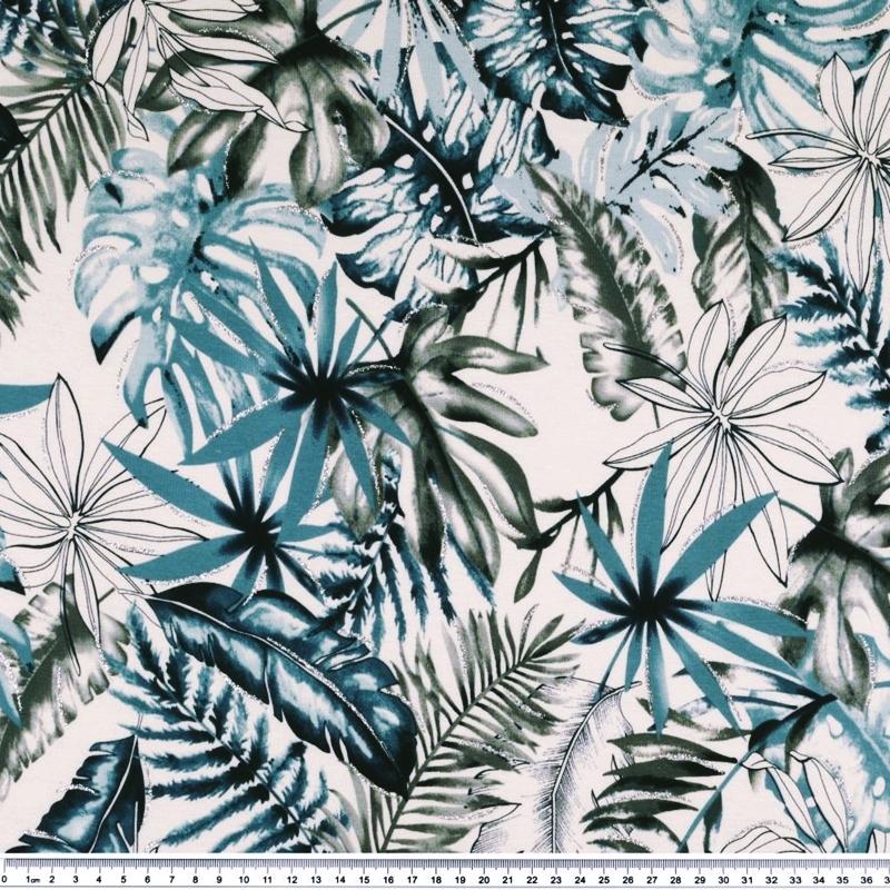 Viskose Jersey - Viskose Stoff - Glitzerdruck - Blätter in Blaupetrol und Grau auf Weiß Reststück