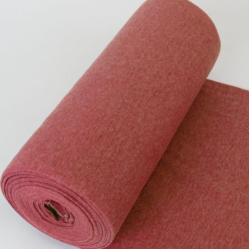 Bündchen Stoff Feinripp Uni - Rot Melange