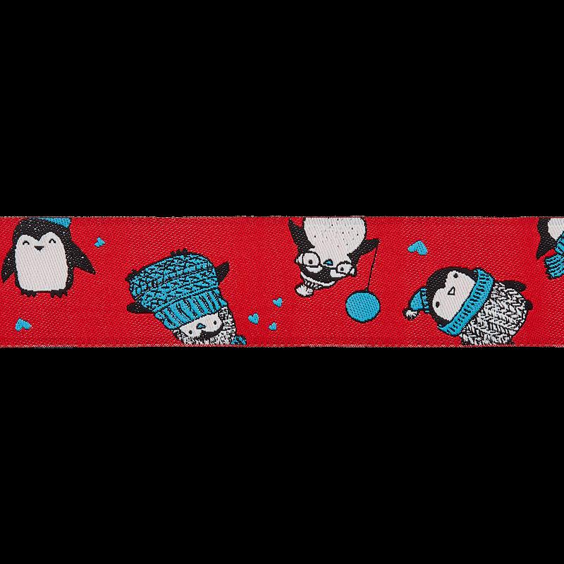Webband - Borte Kinder - Meterware - 25mm - Pinguine auf Rot