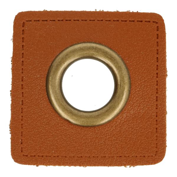 Kunstleder Ösen - Ösen Patches - Braun Viereck - 11mm - Bronze - 1 Stück