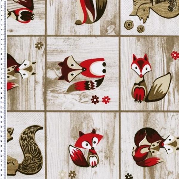 Canvas - Dekostoff - Leinenoptik - Fuchs - Füchse auf Holzoptik