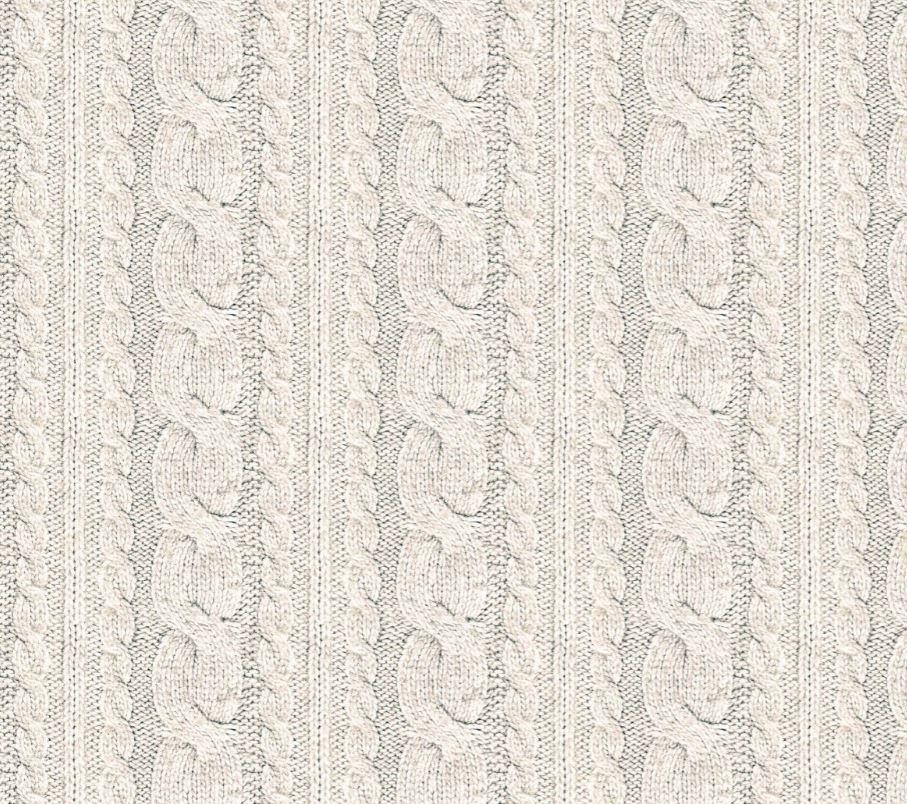 Sommersweat Stoff - French Terry - Digitaldruck - Zopfstrickmuster - Ecru