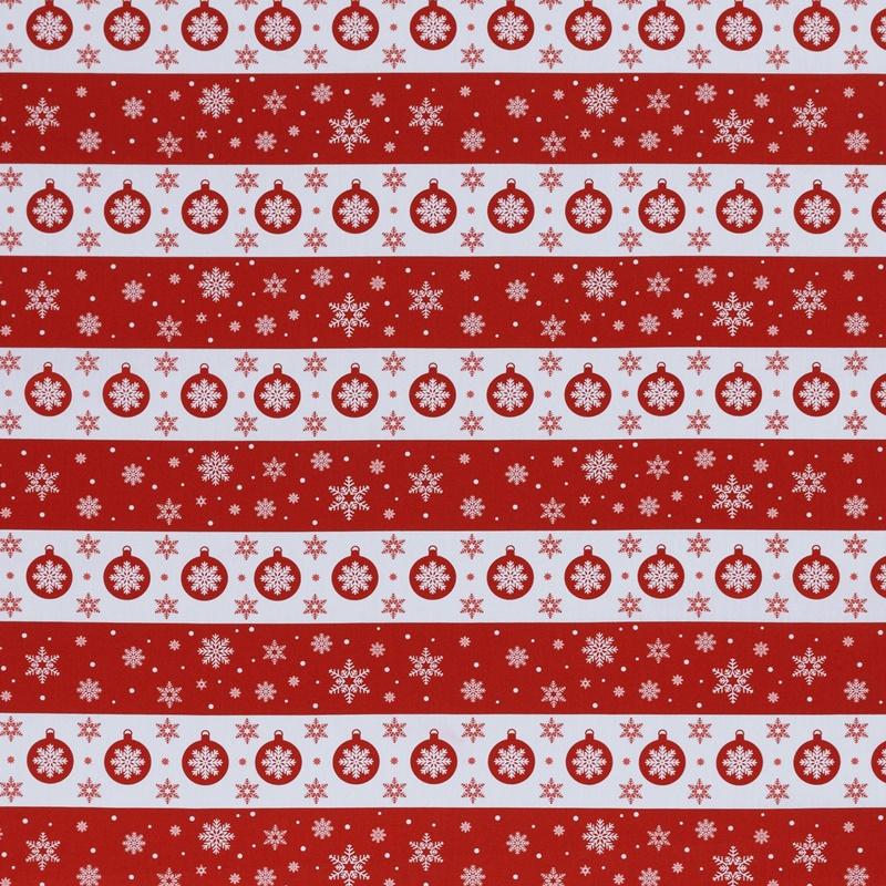 Webware - Baumwoll Stoff - Swafing - Joel - Schneeflocken und Kugeln auf Rot/Weiß gestreift
