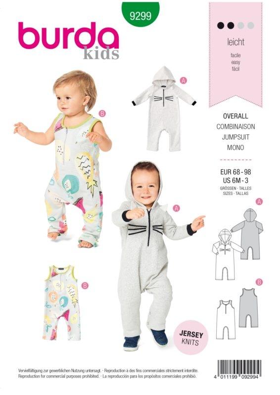 Burda Style 9299 Schnittmuster - Overall - Kinder 68 - 98 - Level 2 Leicht