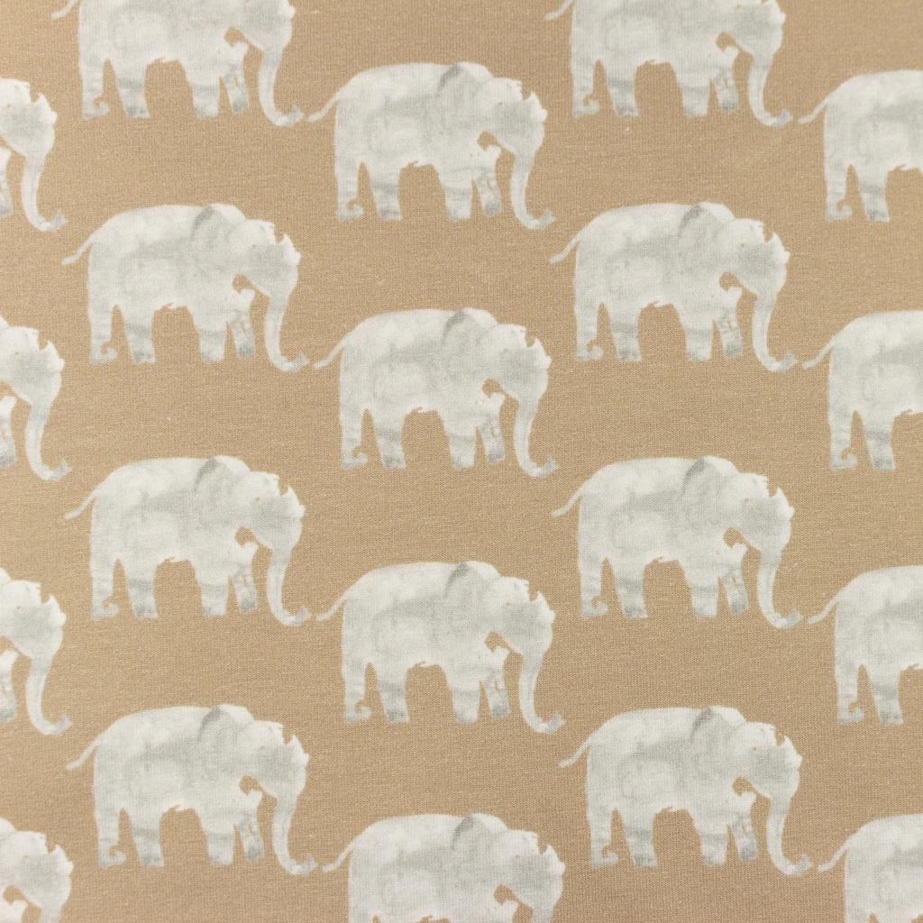Baumwolljersey - Jersey Stoff digital - Elefanten auf Beige