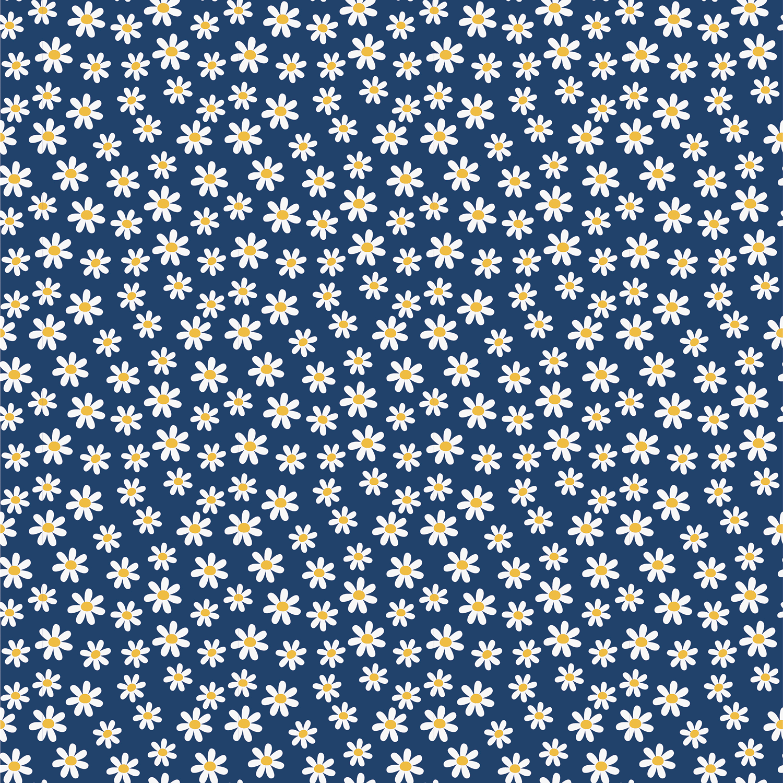 Baumwolljersey - Jersey Stoff - Gänseblümchen auf Marine