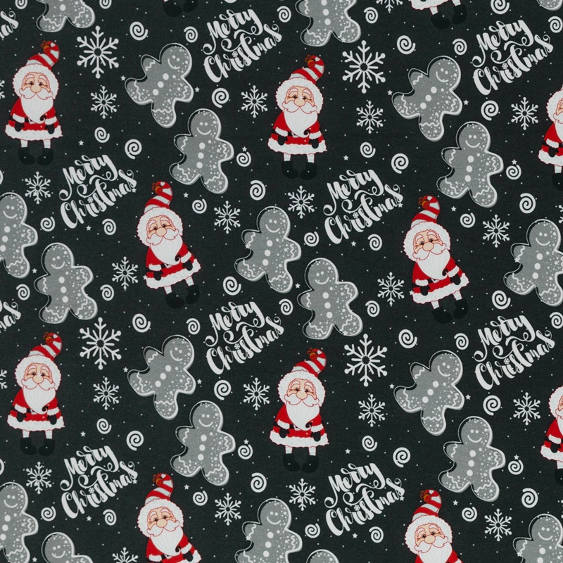 Sweat leicht angeraut - Sweat Stoff - Swafing - Toronto - Weihnachtsmann und Lebkuchenmänner auf Anthrazit