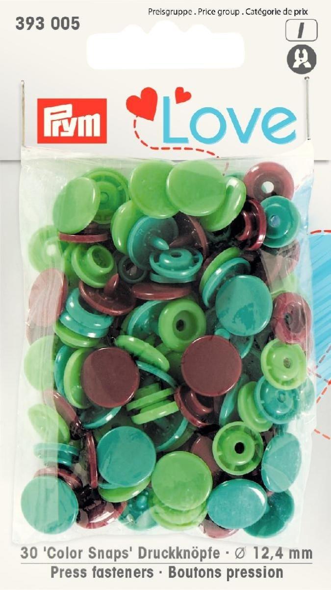 Prym Love Druckknopf Color KST 12,4mm grün/hellgrün/braun - 393005