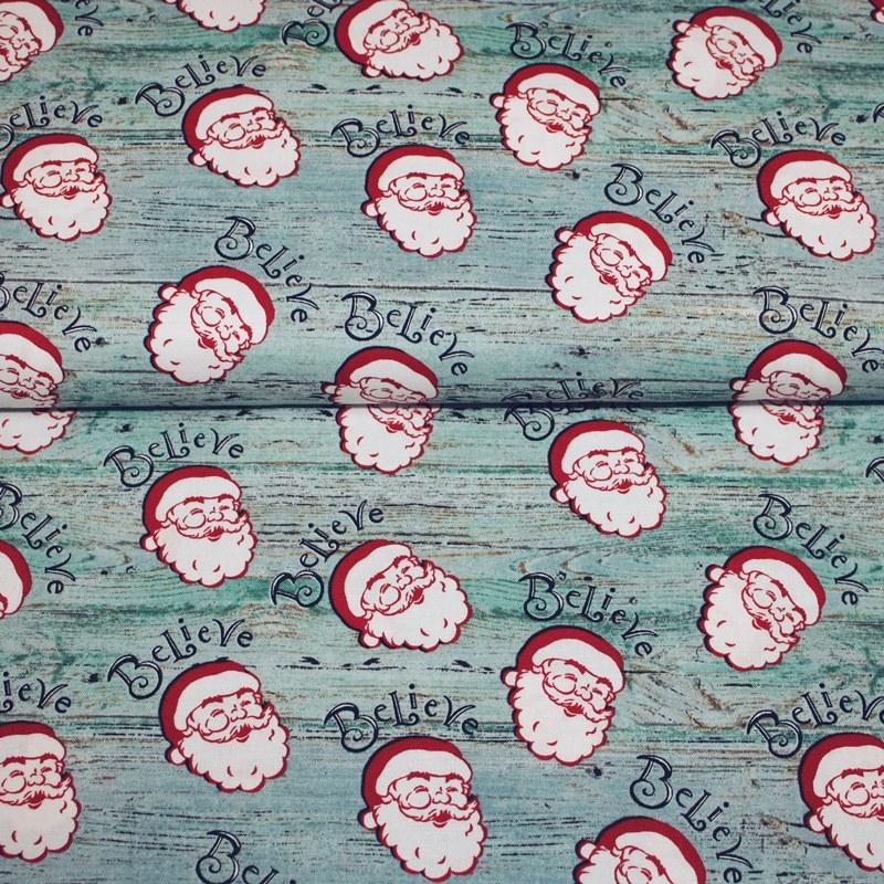 Baumwolle - Patchwork Baumwolle - Baumwoll Stoff - Christmas Memories - Believe - Weihnachtsmannkopf auf Mint in Holzoptik Reststück 180cm x 112cm