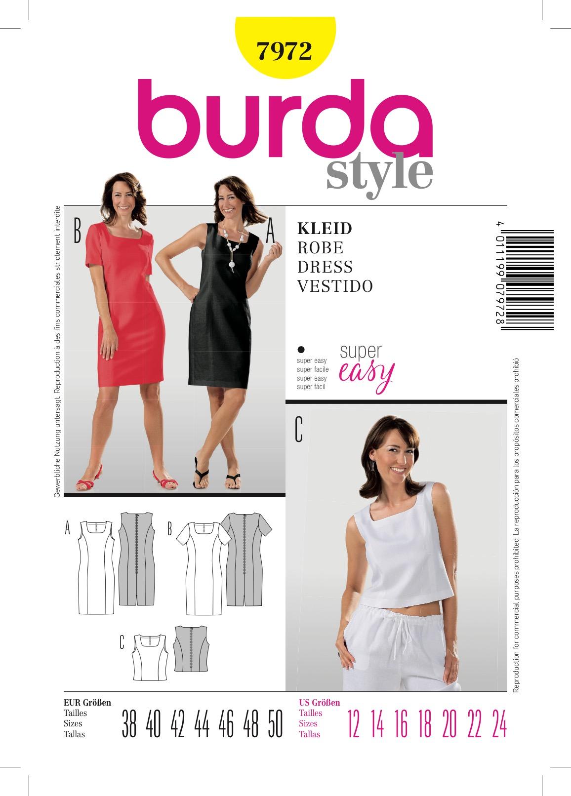 Burda 7972 Schnittmuster Kleid & Top (Damen, Gr. 38 - 50) Level 1 super easy