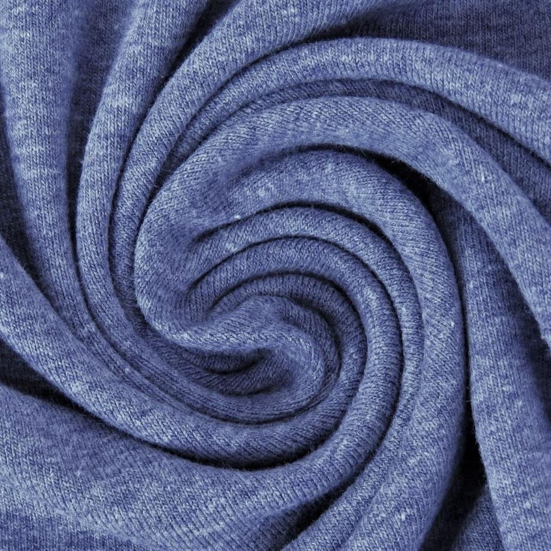 Baumwolljersey Melange - Jersey Stoff Uni meliert -  Jeansblau meliert