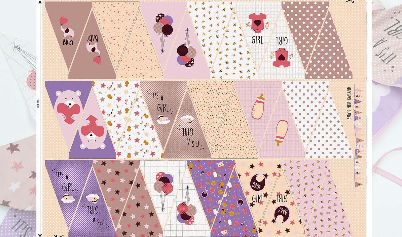 Baumwolle - Baumwoll Stoff - Panel 103cm - Baby Girl - Wimpelkette