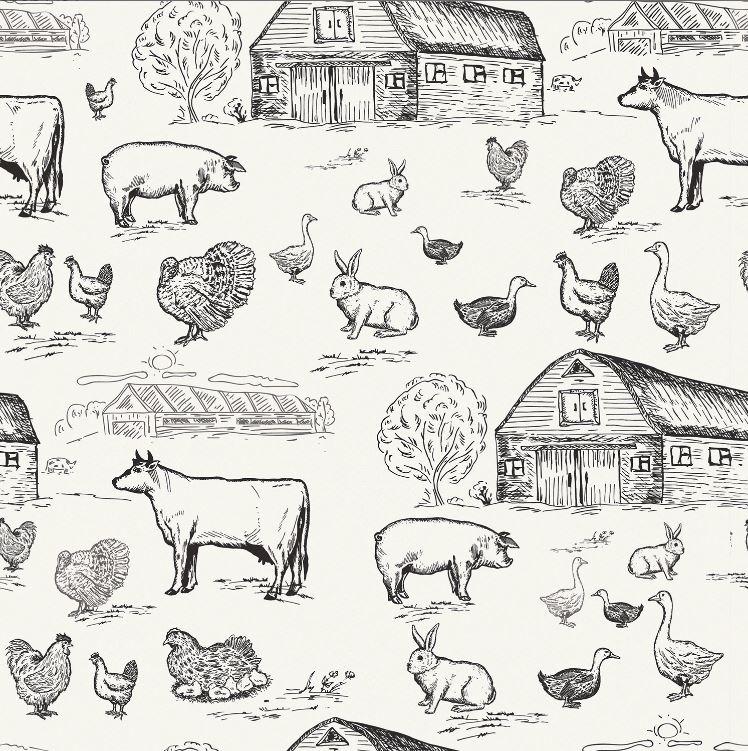 Baumwolljersey - Jersey Stoff - Bauernhofleben auf Ecru