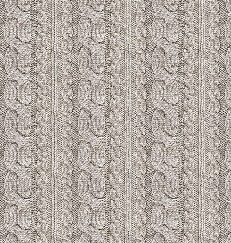 Sommersweat Stoff - French Terry - Digitaldruck - Zopfstrickmuster - Taupe