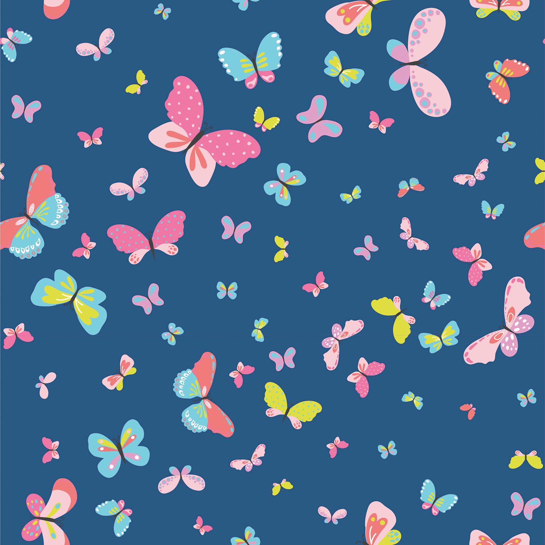 Baumwolljersey - Jersey Stoff - Bunter Schmetterlinge auf Marine