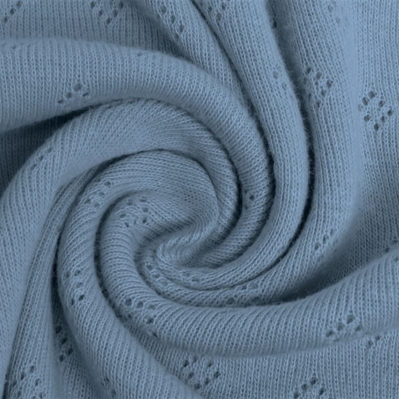 Feinstrickjersey mit Lochmuster - Uni - Jeansblau