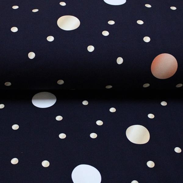 Schnuckidu Eigenproduktion - French Terry - Motiv - Dots Navy - Punkte Reststück 70cm