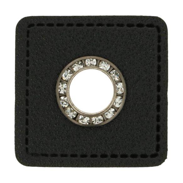 Kunstleder Ösen - Ösen Patches - Viereck Schwarz -11mm - Silber mit Strasssteine - 1 Stück