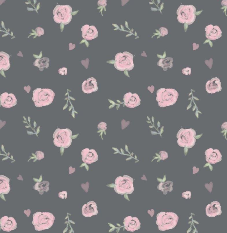 Baumwolljersey - Jersey Stoff - Motivjersey - Digitaldruck - Rosen auf Dunkelgrau